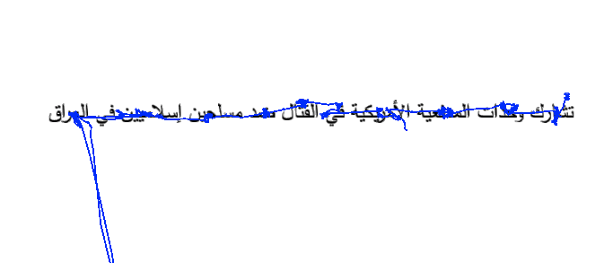 Raw eye-movement on a line of Arabic text